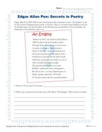 Edgar Allan Poe Reading Worksheet | Secrets in Poetry