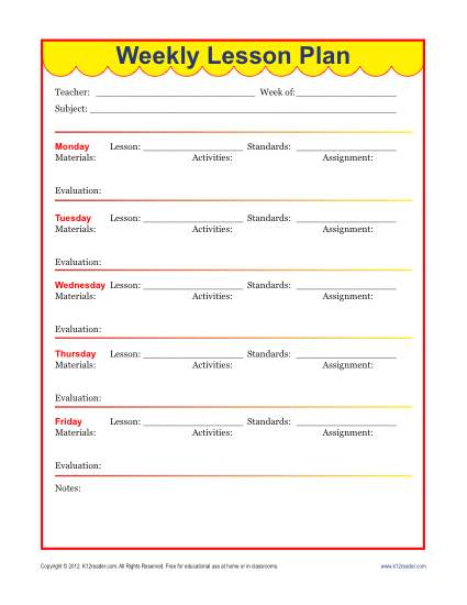 weekly lesson plan template for elementary teachers