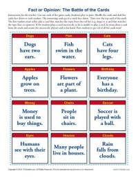 The Battle of the Cards | Fact and Opinion Worksheets for ...