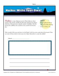 Haiku: Write Your Own! | Poetry Worksheets