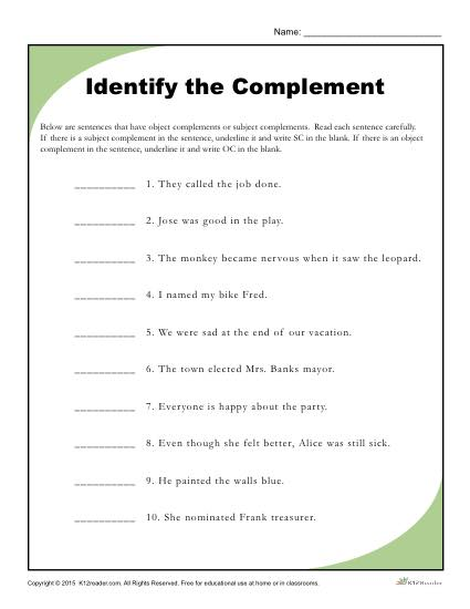 sentence diagramming subject complements printable worksheet