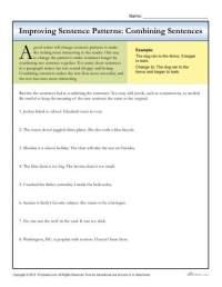 Sentence Patterns: Combining Sentences | Writing Worksheets