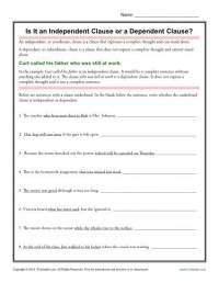 Independent And Dependent Clauses Worksheet With Answers