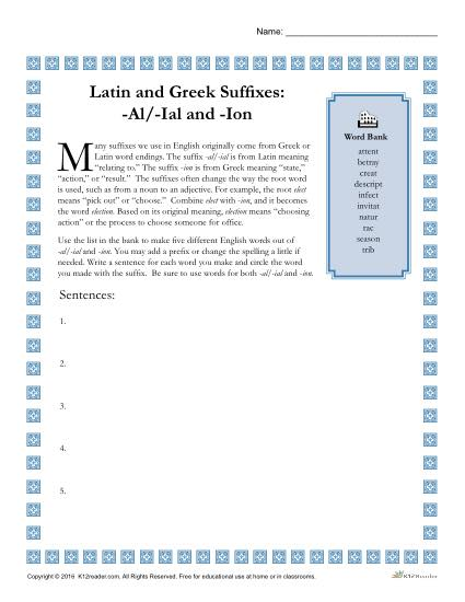 Greek And Latin Suffixes Al Ial And Ion