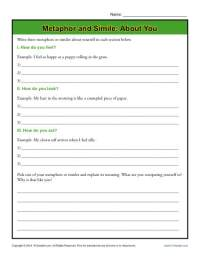 Worksheets For Teaching Similes And Metaphors - Breadandhearth