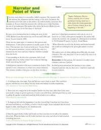Point of View Worksheets | The Narrator