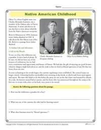 Native American Childhood - Comprehension Activity