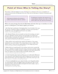 Point of View Worksheets | Who is Telling the Story