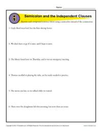 Semicolon and Independent Clauses | Punctuation Worksheets