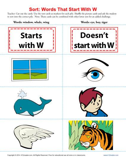 Words Starting With Letter W