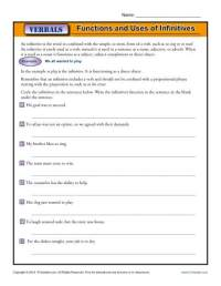 Functions and Uses of Infinitives   Verbals Worksheets