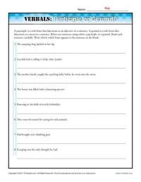 Verbals: Participle or Gerund?   Verbal Worksheets