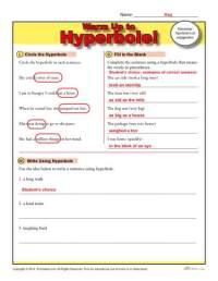 Hyperbole Warm Up Activity | Figurative Language Worksheets