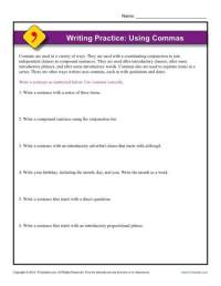 Writing Practice: Using Commas | Punctuation Worksheets