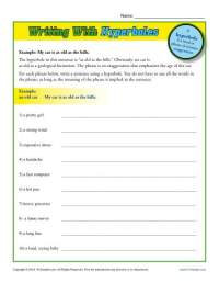 Writing With Hyperboles | Hyperbole Worksheets