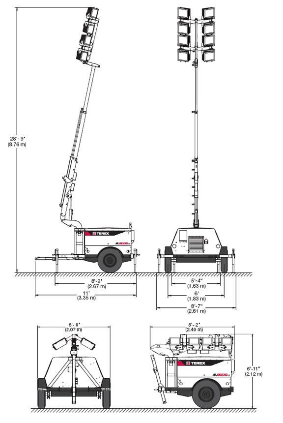Terex/Amida AL8000HT Light Tower, Towable 4-Light, 8kW