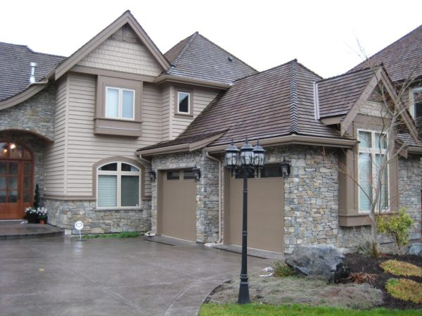 exterior stone two car garage