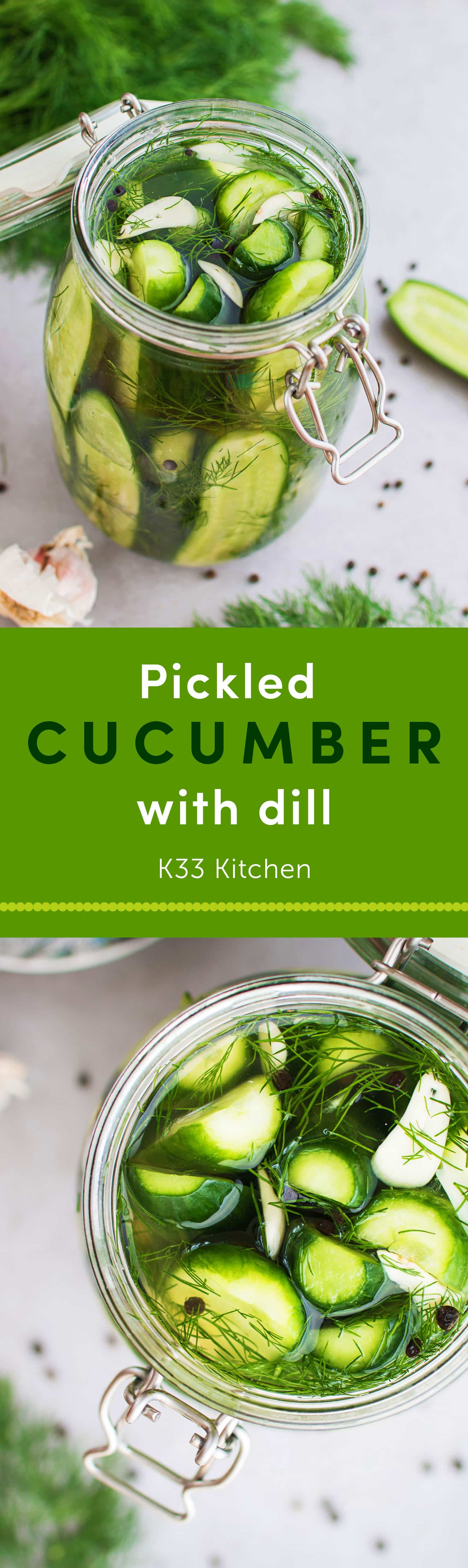 Pickled cucumber with dill