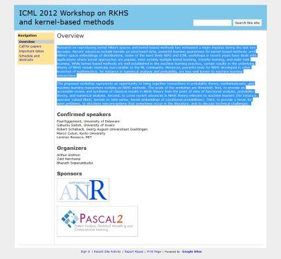 ICML 2012 Workshop on RKHS and kernel-based methods