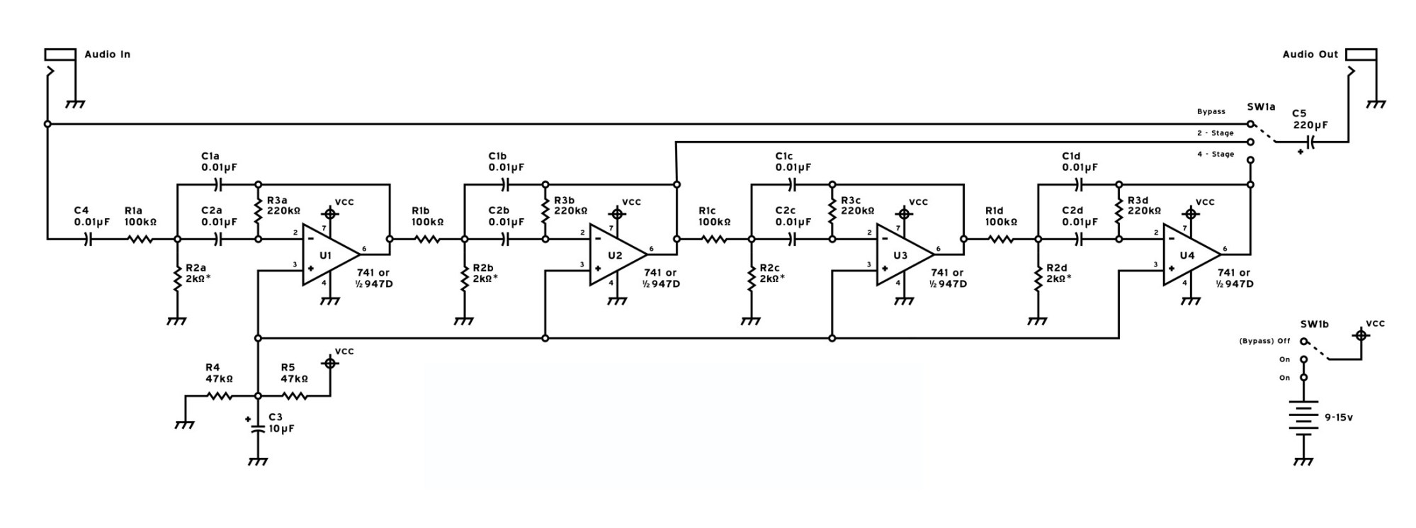hight resolution of 4 stage rc active cw filter