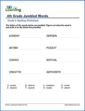 grade 4 spelling worksheet  unscramble the words  K5