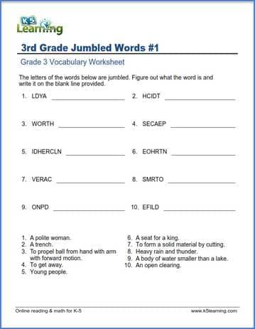 Grade 3 vocabulary worksheet  unscramble the jumbled