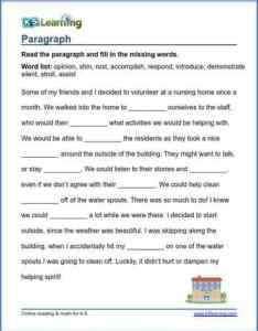 Grade vocabulary worksheet insert words in paragraphs also paragraph  learning rh  learning