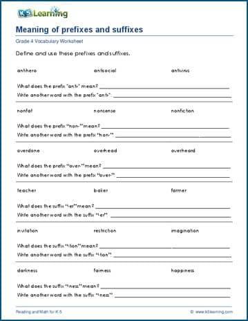Grade 4 Prefix Suffix Idioms Proverbs Similes