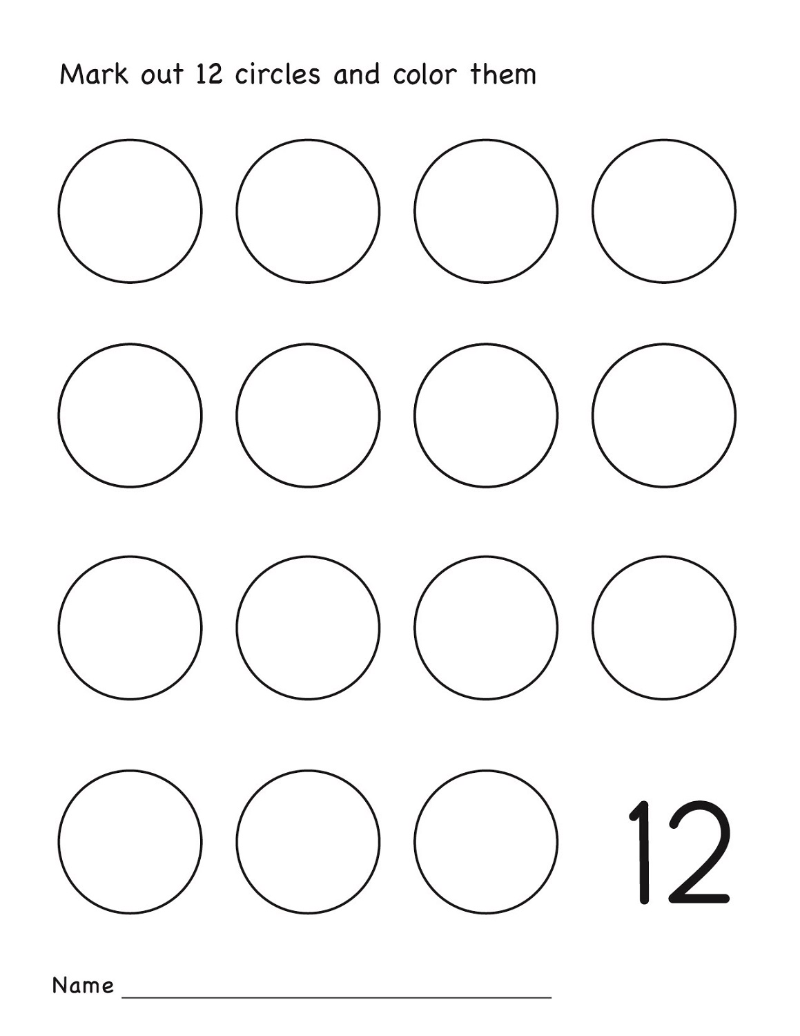 Number 12 Worksheets