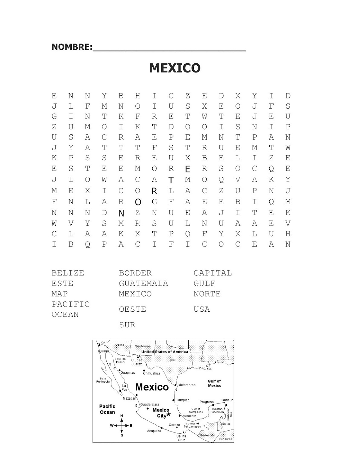 Word Search Worksheet To Print