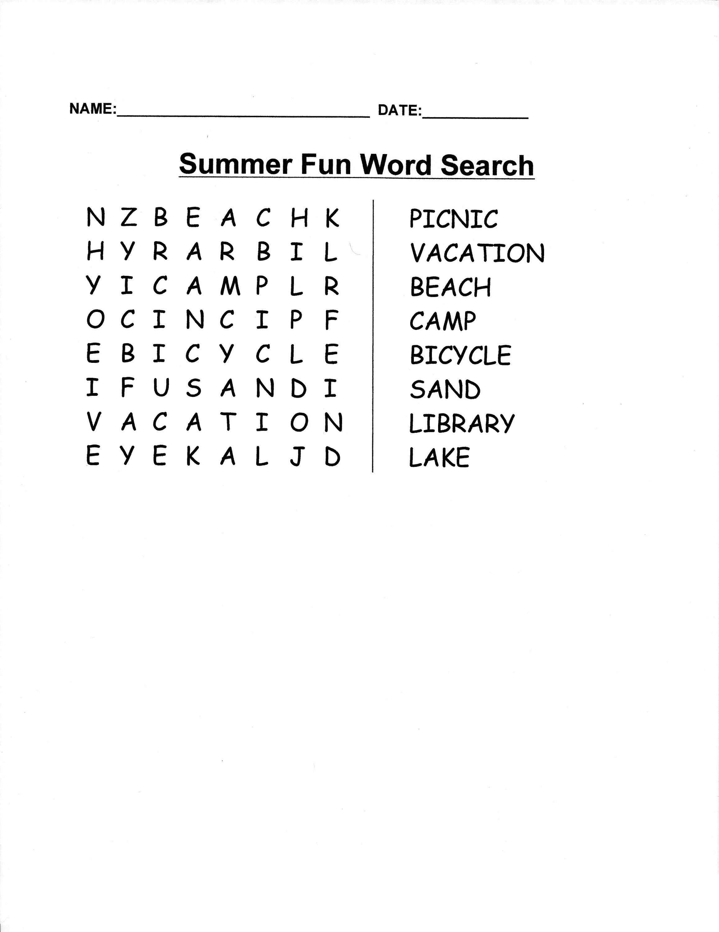 Easy Word Searches Summer