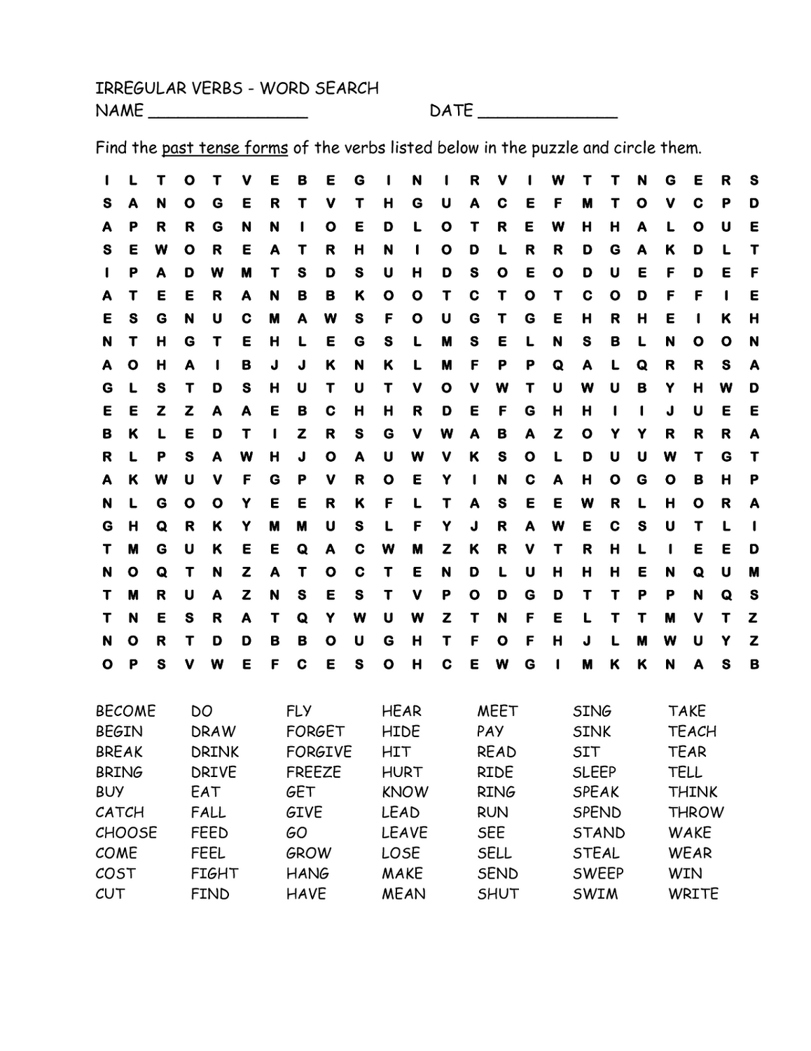 Free Word Search Worksheets Verb
