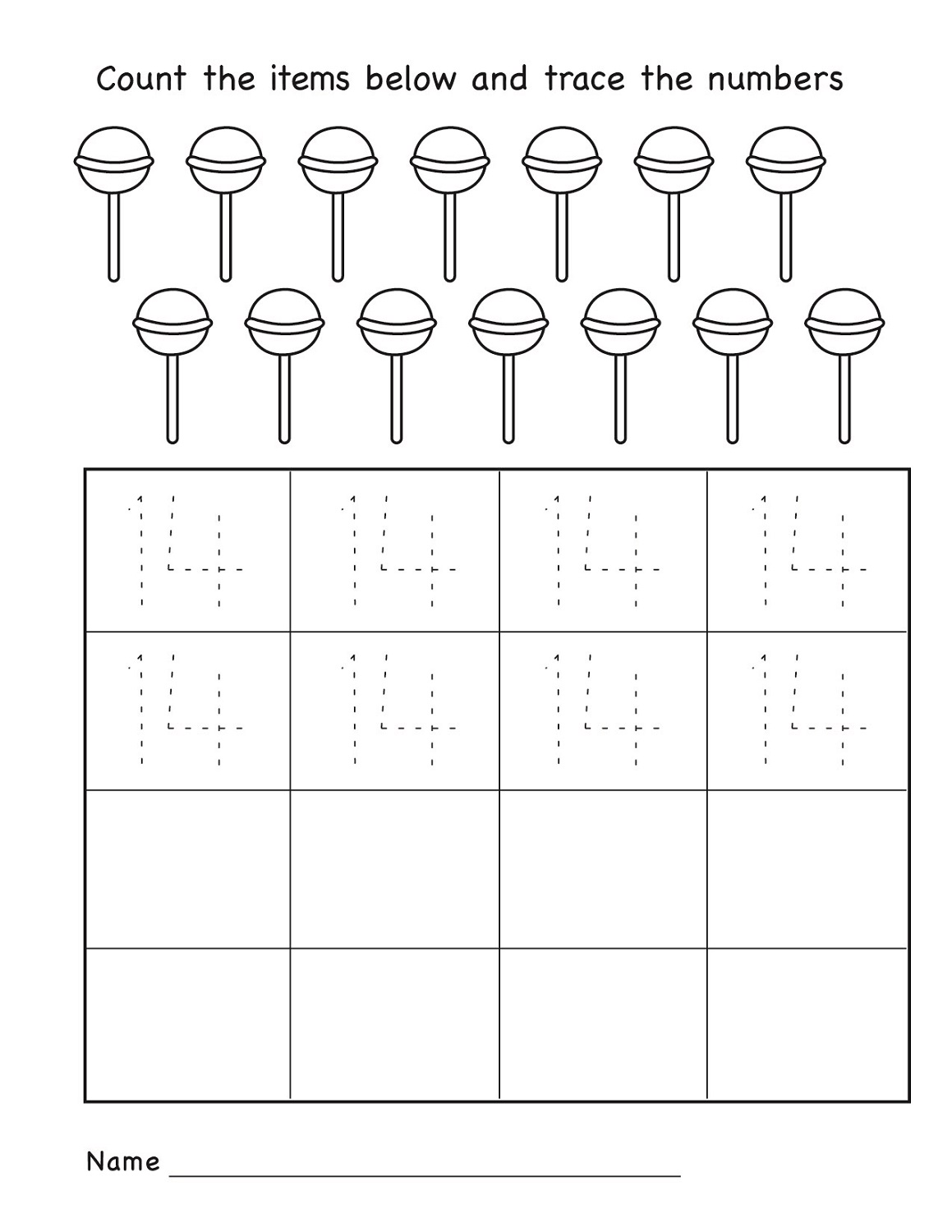 Number 14 Worksheet For Kindergarten K5 Worksheets