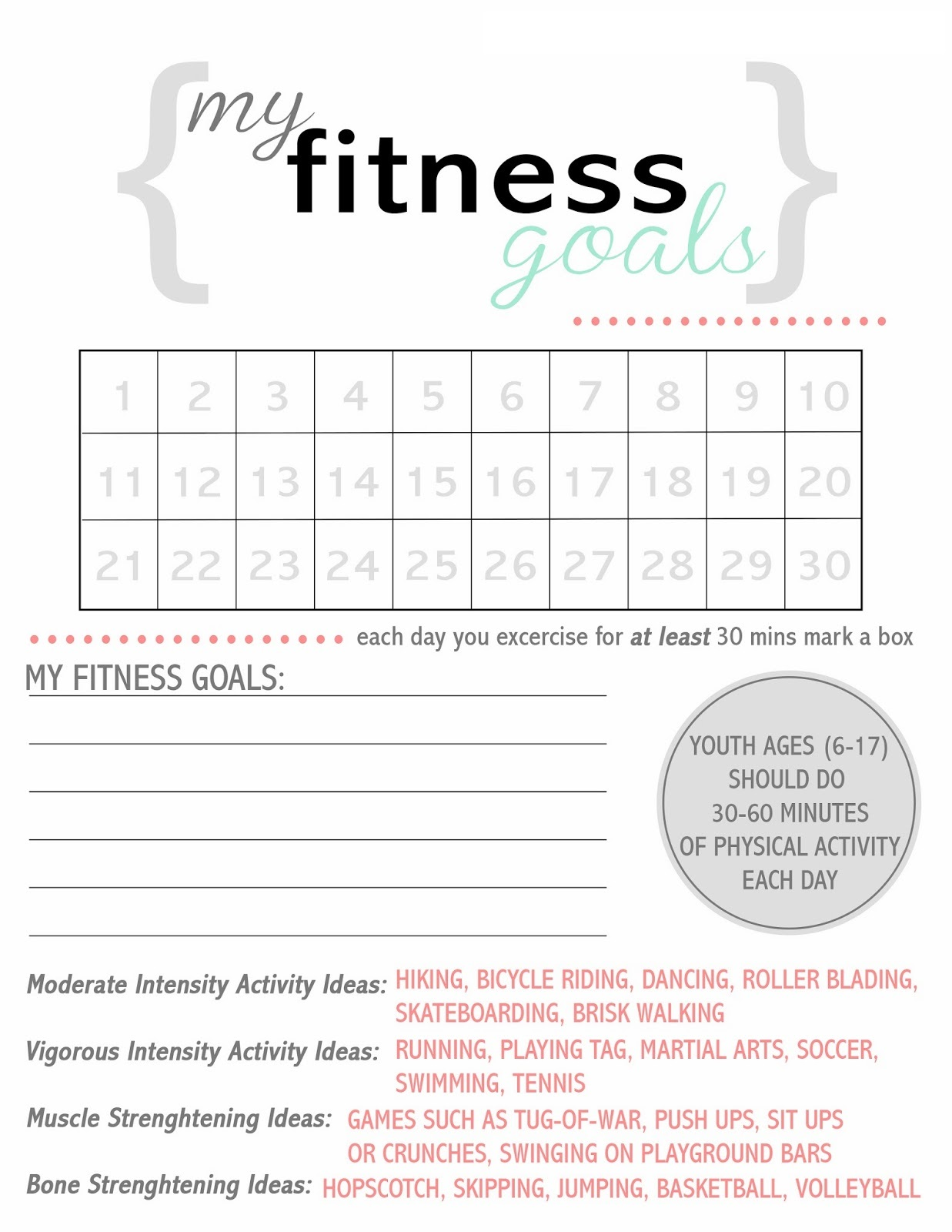 Exercise Worksheets Printable