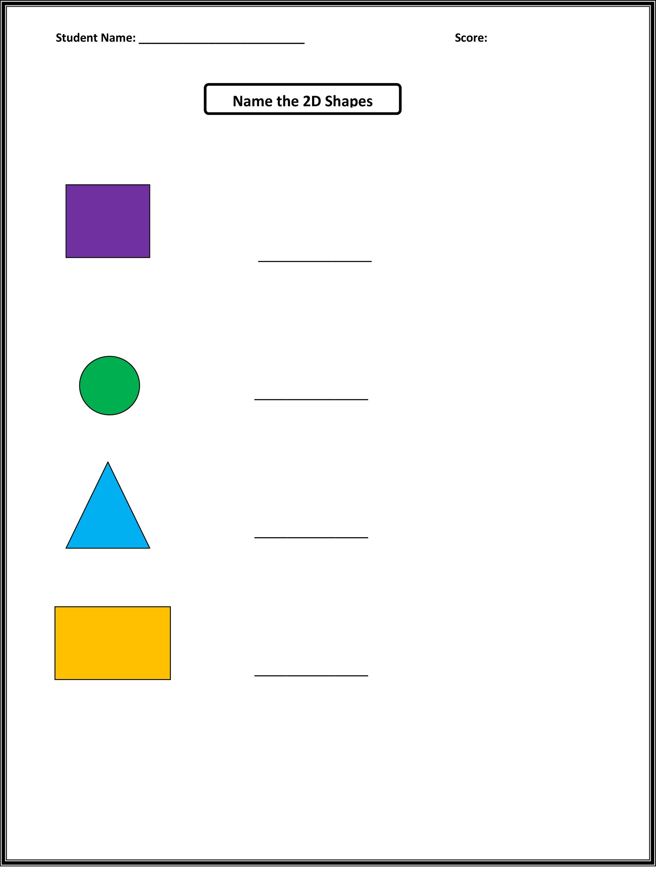 Names Of Shapes Worksheet For Kindergarten