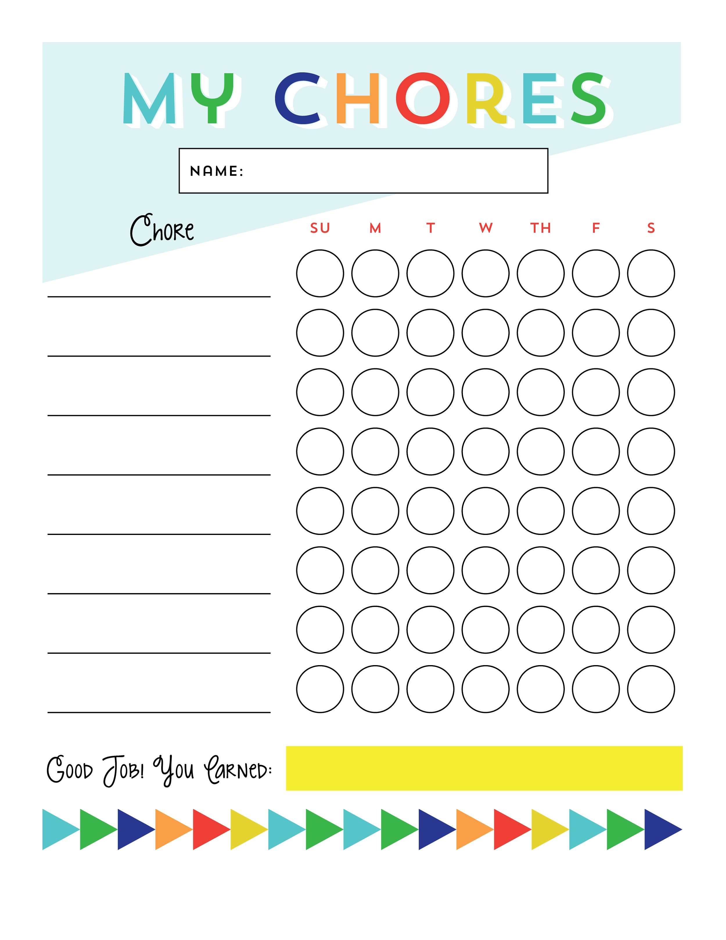 Chore Reward Chart Printable