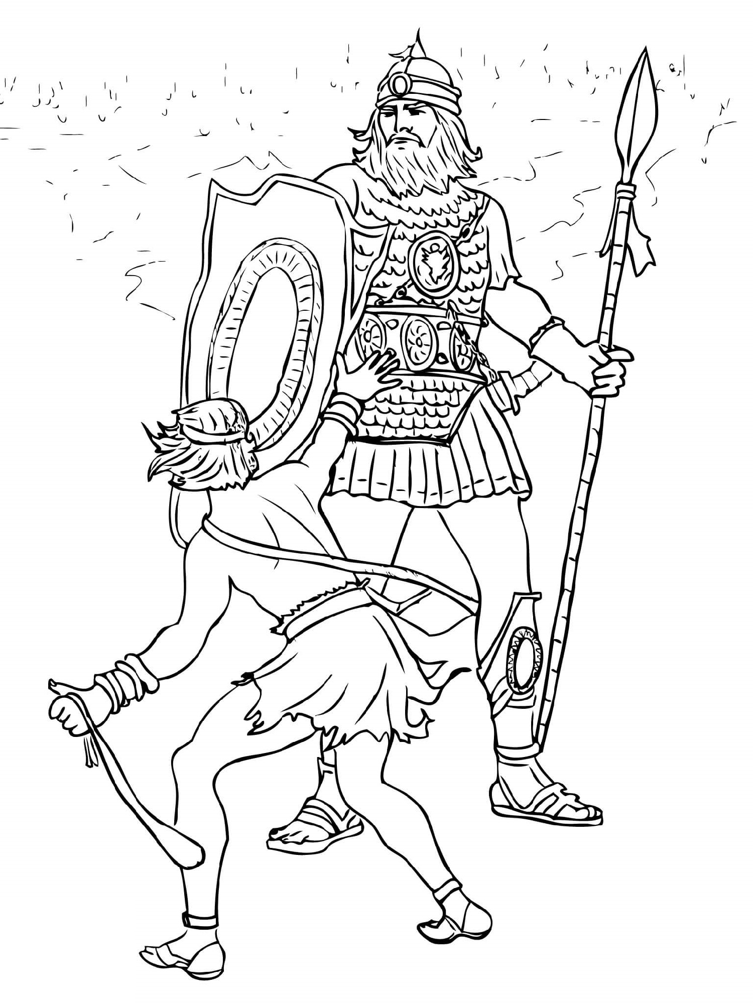 David And Goliath Coloring Page Fight
