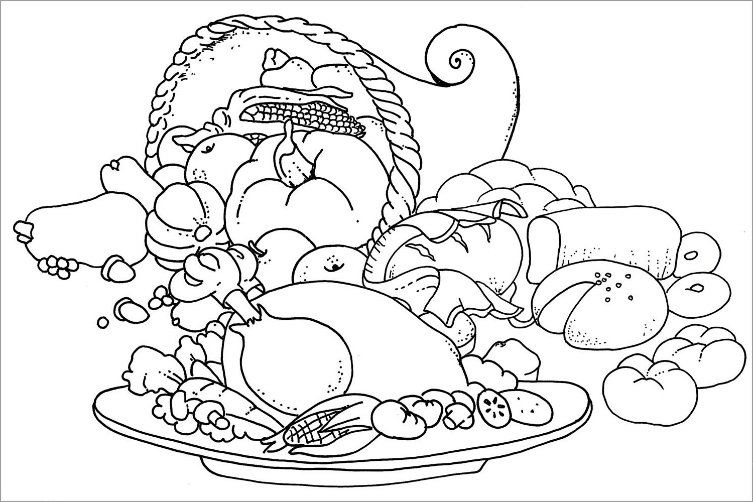 Thanksgiving Coloring Pages Dinner Table