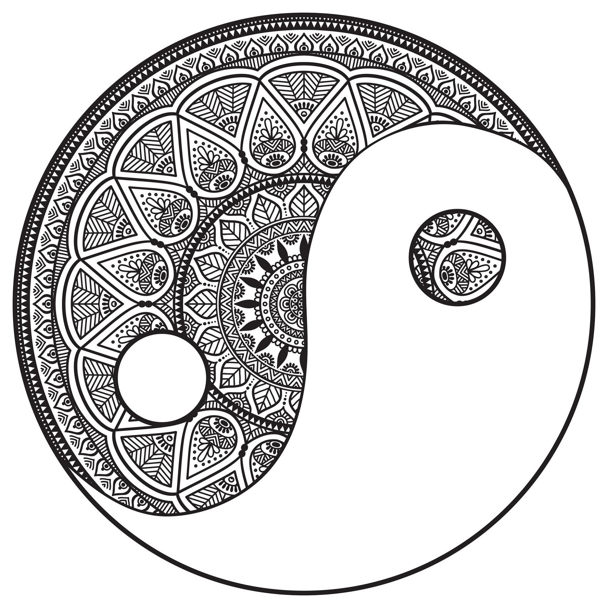 Yin Yang Coloring Pages Mandala