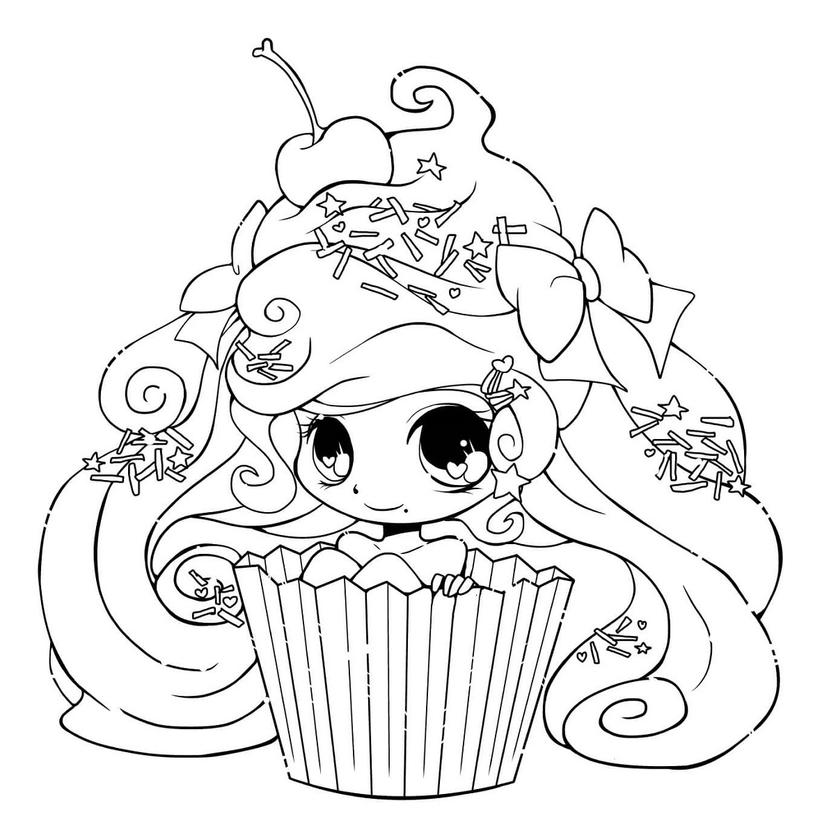 Chibi Girl Coloring Pages Food