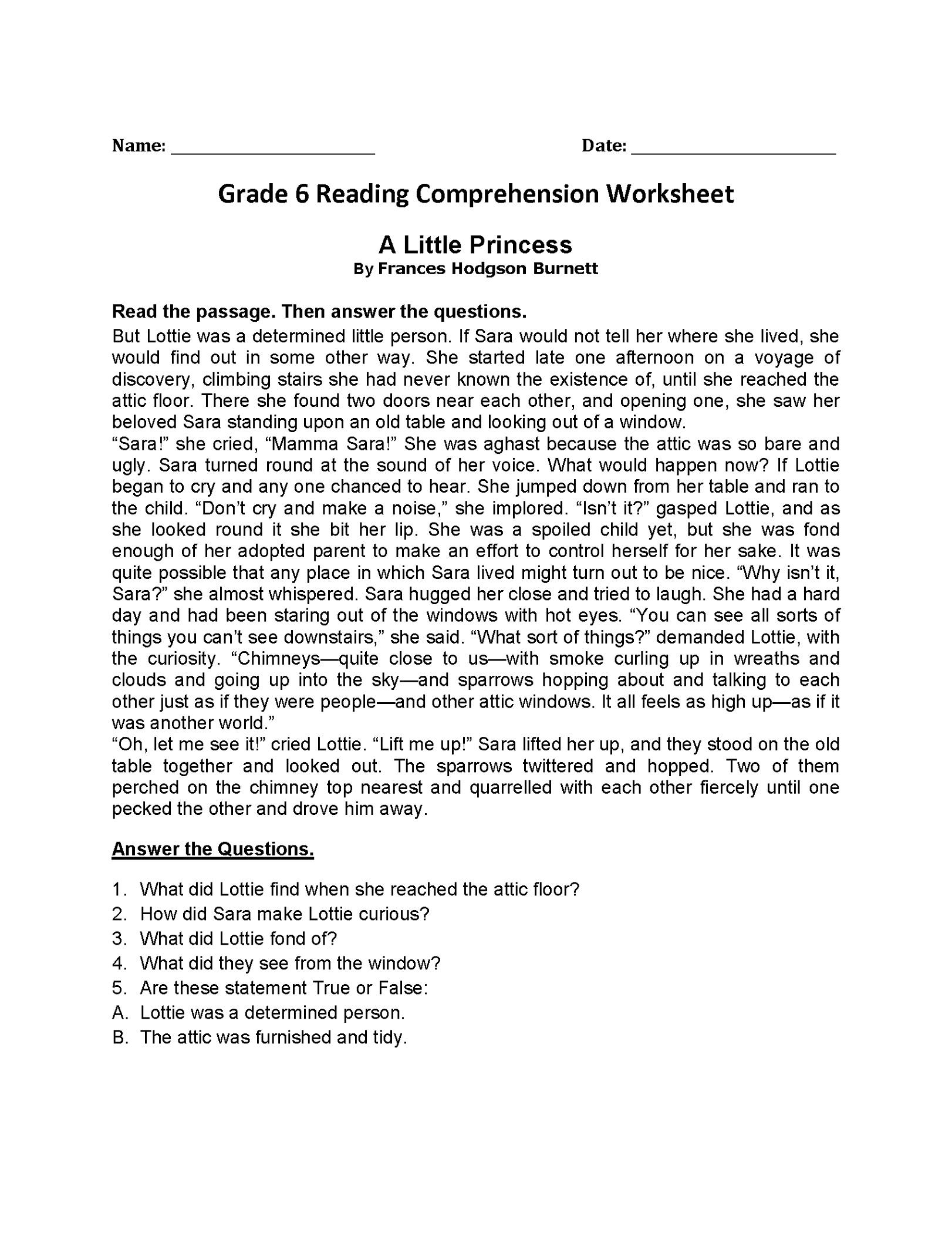 6th Grade Worksheets Reading Comprehension K5 Worksheets
