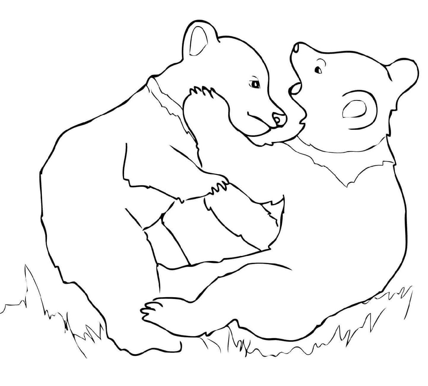 Bear Coloring Pages Playing