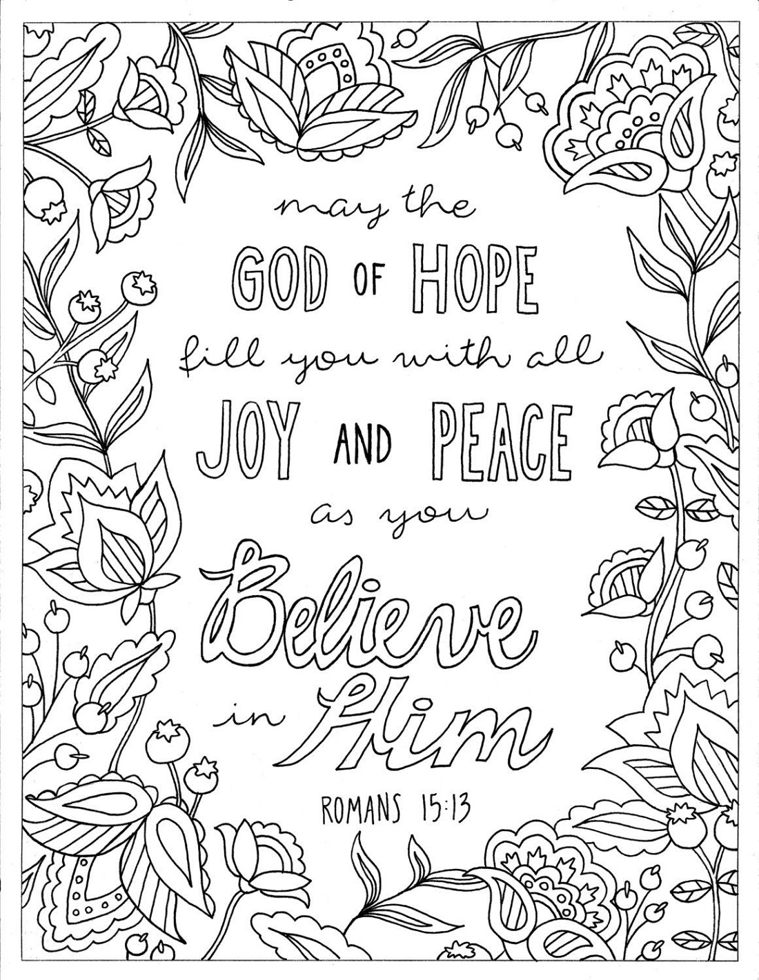 Bible Verse Coloring Pages God Of Hopes