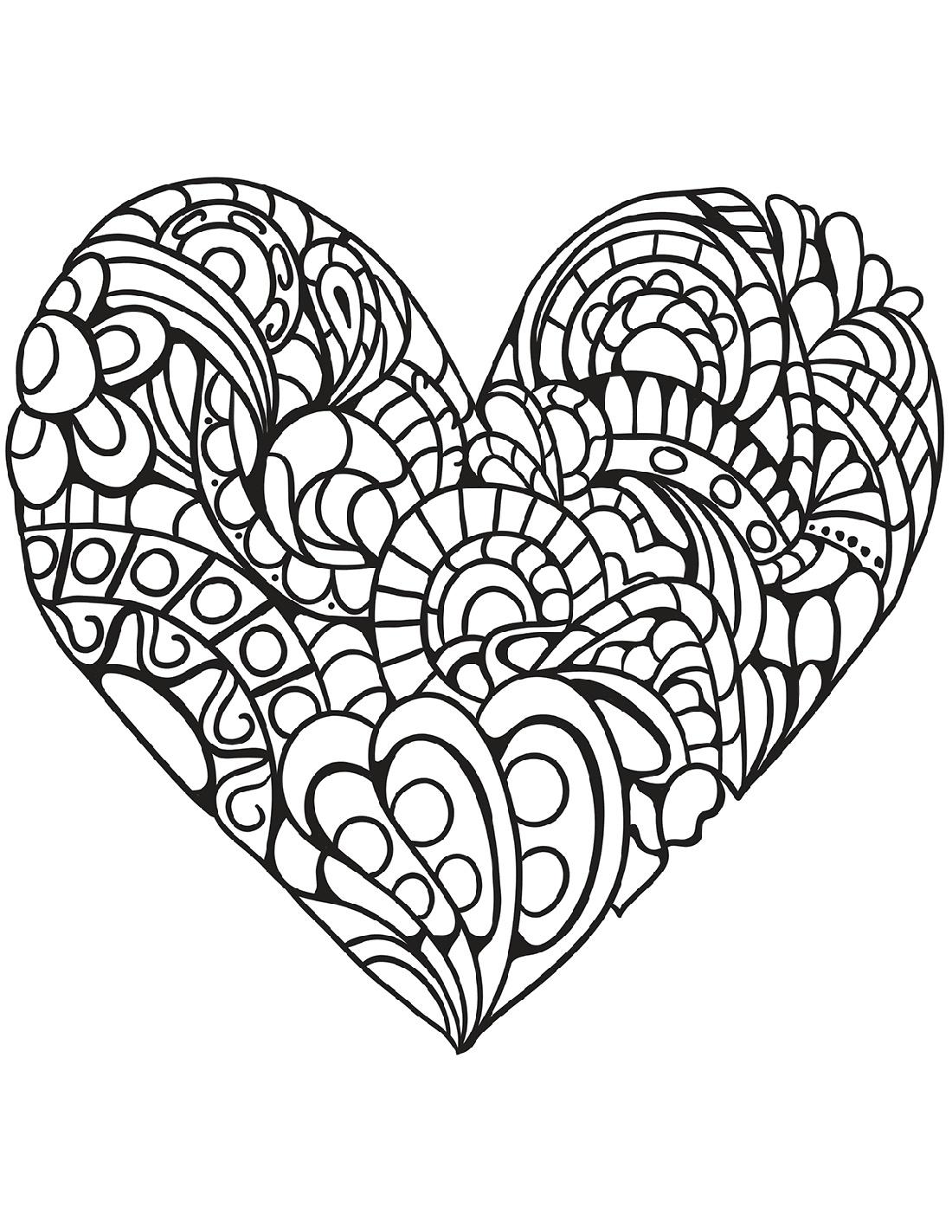 Heart Coloring Mandala Cuttable