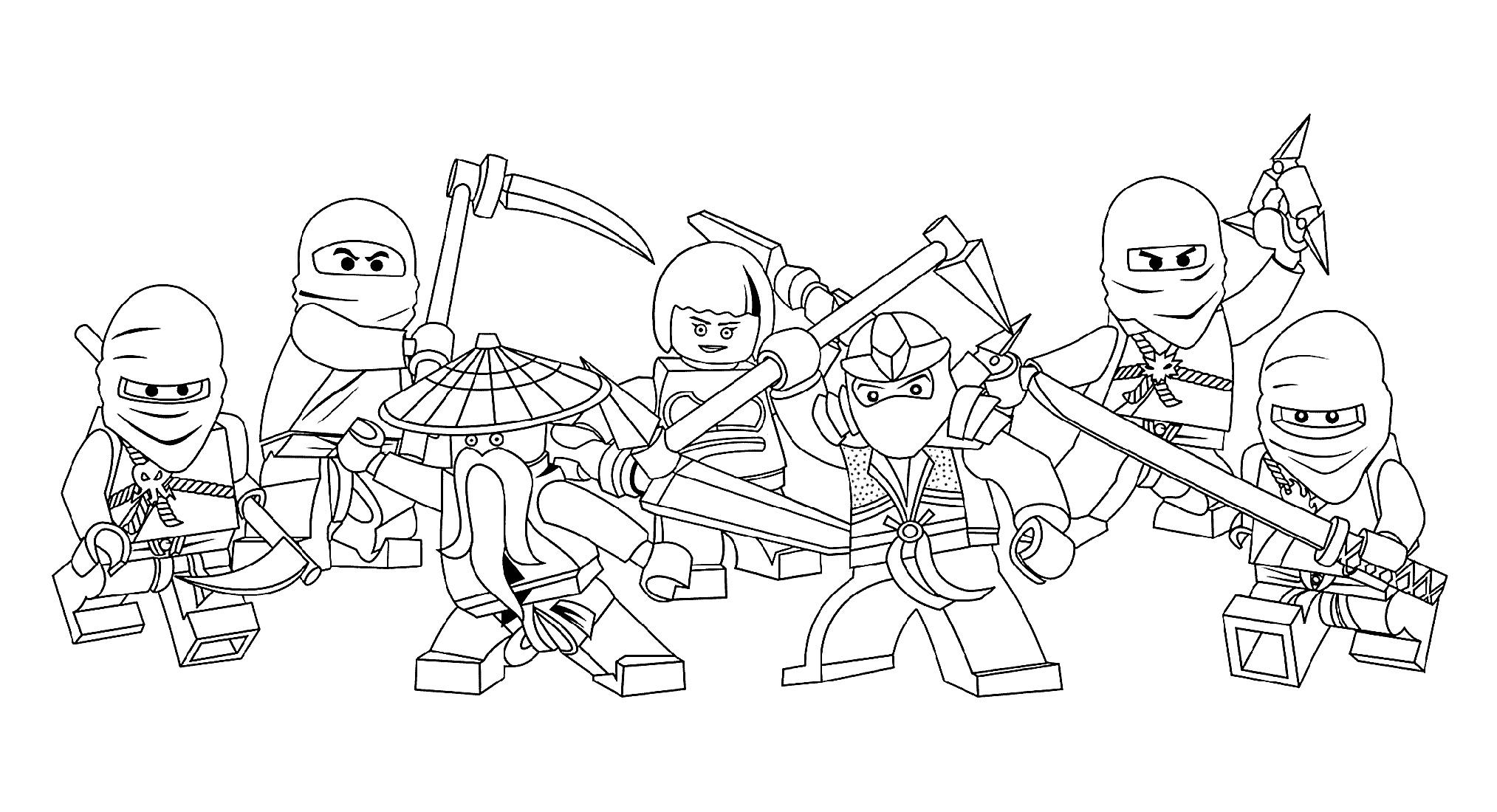 Lego Ninjago Coloring Pages Various Poses