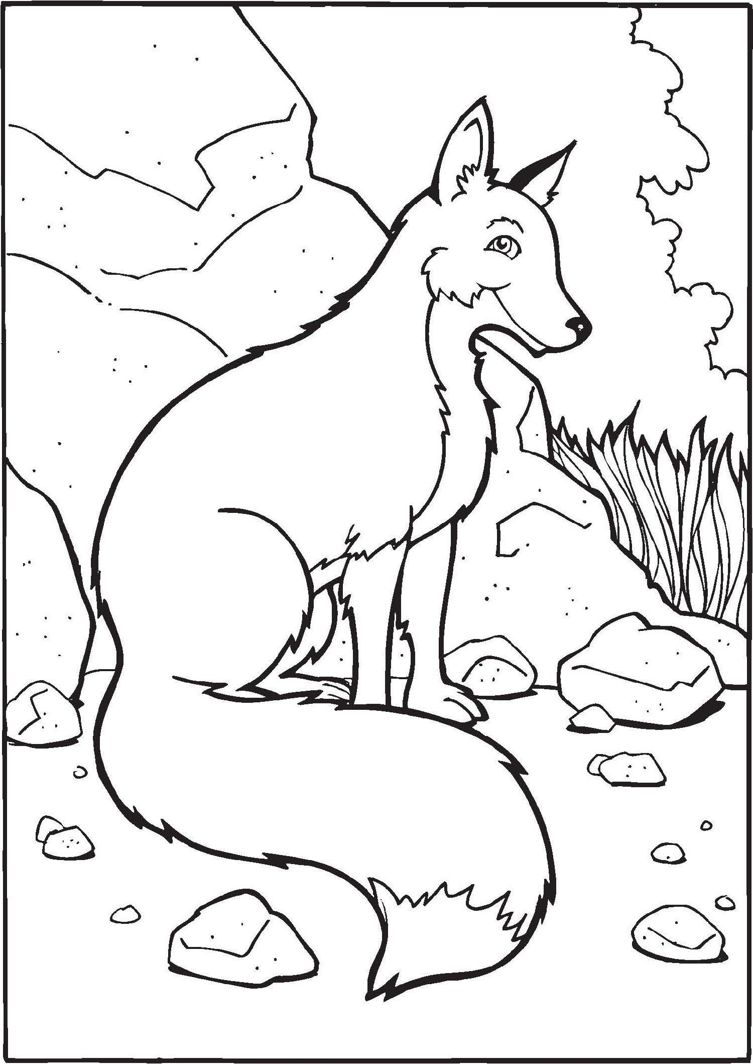 Fox Coloring Pages For Kids Various Poses