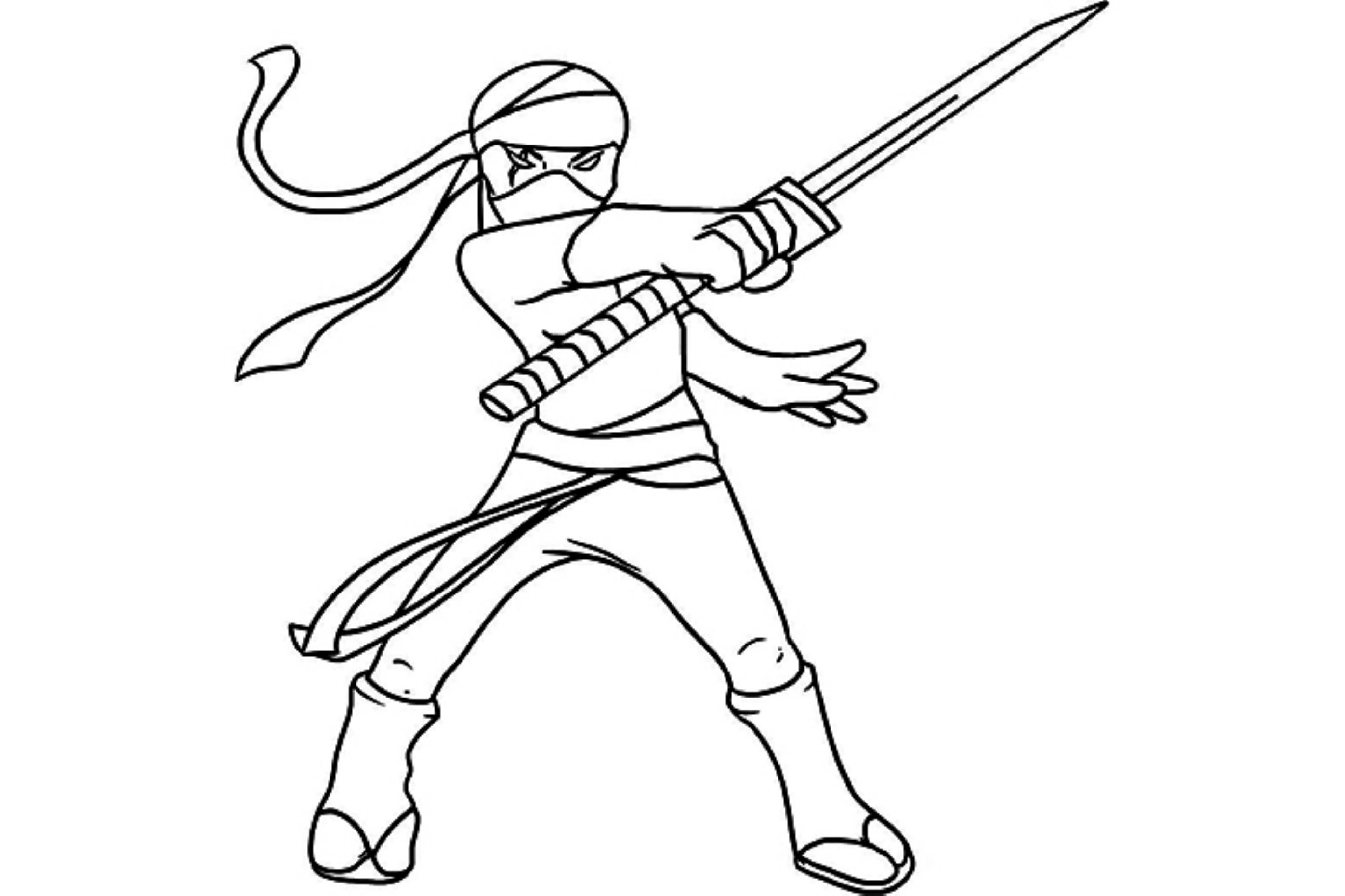 Ninja Coloring Pages For Kids Downloadable