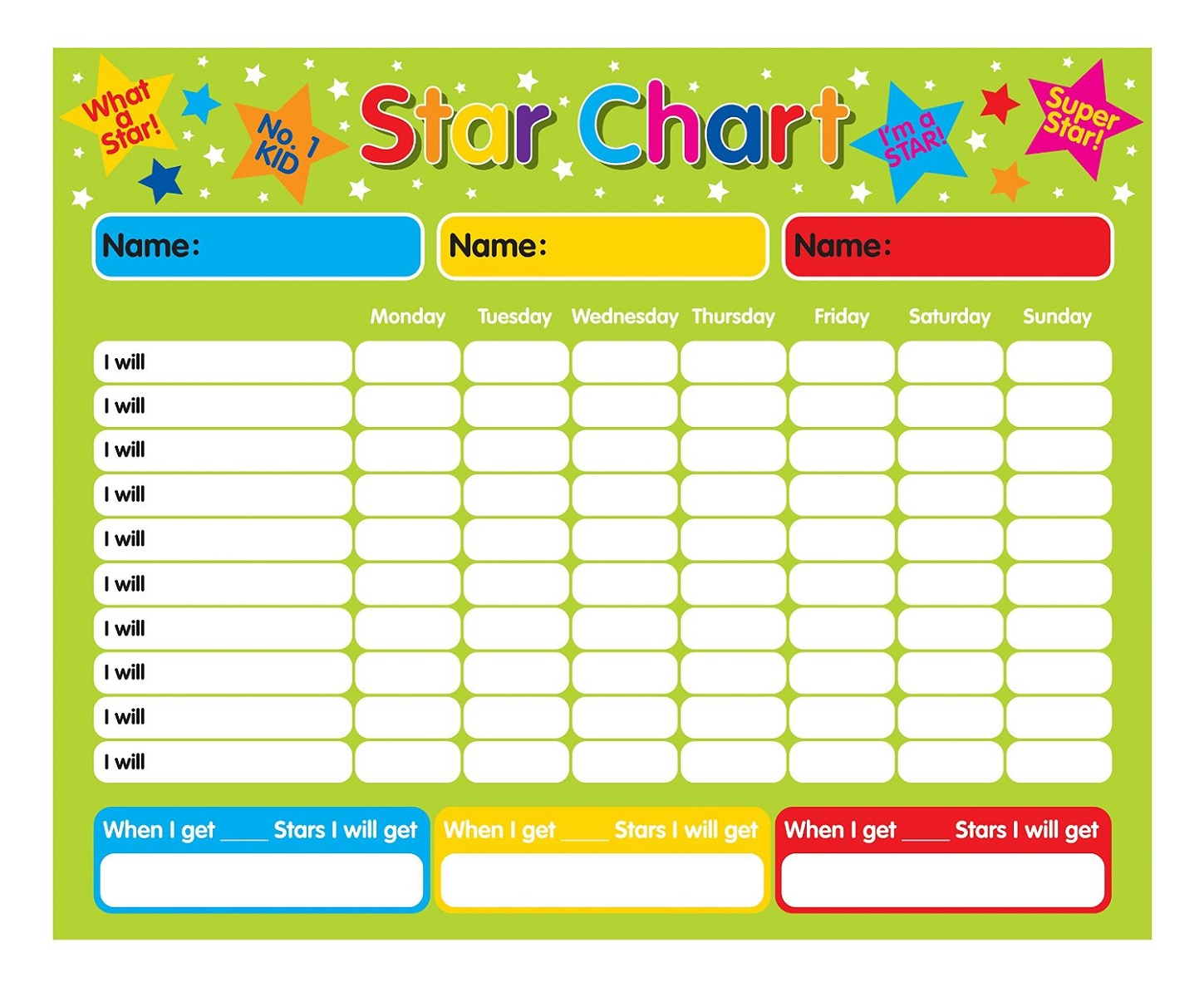 Star Reward Chart Behavior Full Pages