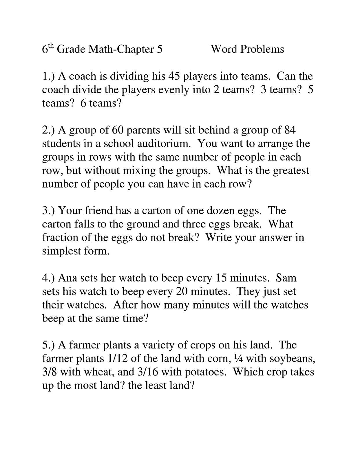 Word Problems Worksheets Division