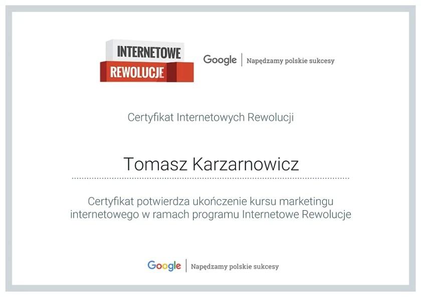 Mój certyfikat z Internetowe Rewolucje